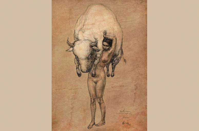 Girl carrying Bull by Vladimir Fokanov